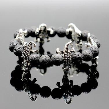 Buy Men Silver Crocodile Charm Bracelets 8 MM Elastic Adjusted Length Nature Stone Black Lava Brace