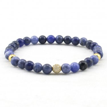 Buy Natural Blue Ocean Sediments Stone Beads Zircon CZ 6mm Beads Bracelet Elastic Rope Bangles For