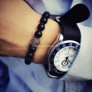 Buy Natural Stone Matte Black Onyx Beads Bracelets For Men With Black Cubic Zirconia Ball High Qual