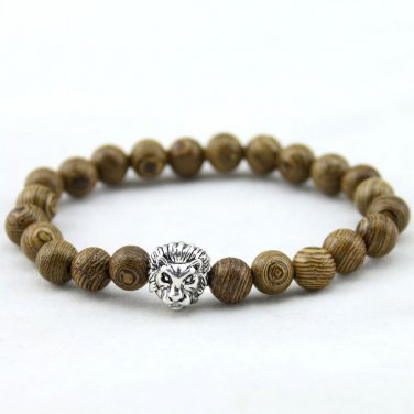 Buy Promotion 8MM Brown Wenge Wood Bracelet, Prayer Mala Beads Natural Wood GoldenSilver Lion Head