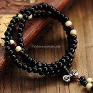 Buy Fashion Natural Ebony 6mm Black Wood Beads 108 Buddha Bracelets Men  Women Long Bangle Religion