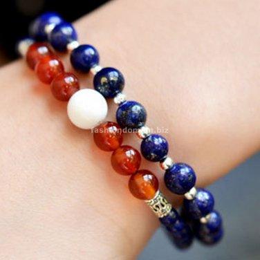 Buy 2 pscLot Top Quality Bohemian Bracelets for Women Agate lapis lazuli Tridacnidae Beads Bangle L