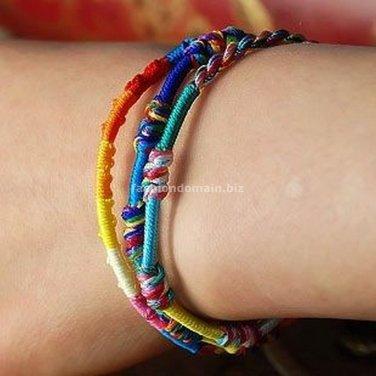 Buy  Hot Fashion 5 Lot Charm Bracelet Bohemian Color line Handwork Weave Friendship Bracelets for W