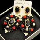 Buy Fashion Baroque Black Lace Metal Flowers Earrings for Women Portrait Rhinestone Earrings Retro