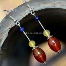 Buy Fashion National Vintage Jewelry lapis lazuli Women Earring Trend Plaid Night Market Agate Silv