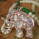 Buy High Quality Alloy plating Opal Green Agate Synthetic Tridacna Hollow Rhinestone Elephant Penda