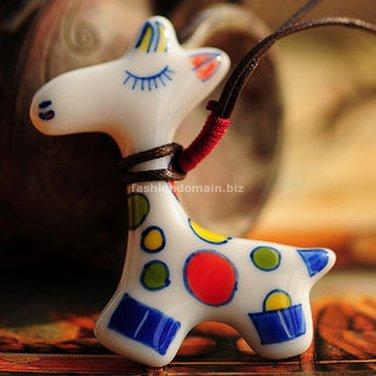 Buy Hot Vintage Cut Cartoon Ceramics Giraffe Pendent Necklace for Women Fashion Women Necklace Gift