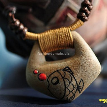 Buy  New Vintage Weave Ceramics Fish Pendent Necklace for Women Fashion Hand made Women Long Neckla