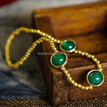 Buy New Original Green Agate Bracelet,Handmade Ethnic Nature Stones Bracelet, DIY Fashion Luxury Go