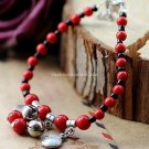 Buy New! ! Wholesale Tibet Bell Red Coral Beads Tibetan silver Bracelets Women Gift Original Handma