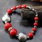 Buy New! ! Wholesale Tibet Jewelery Red Coral Beads Tibetan silver Fish Bracelets Women Gift Origin