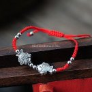 Buy New! ! Wholesale Tibetan Red Silk Tibetan Silver Beads Bracelets for Women Fish Weave Women Bra