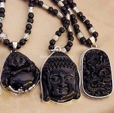 Buy Pick Style:Silver plated Black beads Long Pendent Necklace Buddha Beads Necklace for Women and