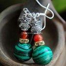Buy shop Fashion Bohemian Vintage Ethnic Tibetan silver Owl Natural Malachite Beads Dangle Earrings