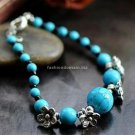 Buy Wholesale Nice Simple Ethnic Tibetan silver Turquoise Flowers Bead Bracelets Woman Handmade Sha