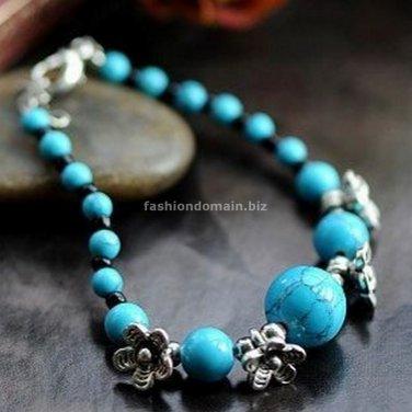 Buy Wholesale Nice Simple Ethnic Tibetan silver Turquoise Flowers Bead Bracelets Woman Handmade Sha