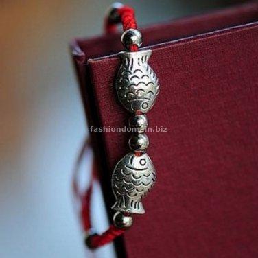 Buy Wholesale Shambhala Tibetan silver Red Silk handmade braided Fish Bracelets Women Gift Fashion