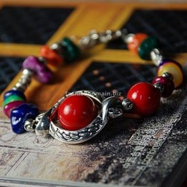 Buy Wholesale Tibetan Charm Alloy Natural Red Coral Beads Gravel Shambhala Bracelets Women Gift Han