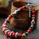 Buy Wholesale Tibetan Jewelery Natural Red Coral Beads Tibetan silver Shell Shambhala Bracelets Wom