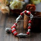 Buy Wholesale Tibetan Jewelery Natural Red Coral Tibetan silver Hollow ball Fish Shambhala Bracelet