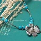 Buy Wholesale Tibetan Jewelery Refinement Tibetan silver Flowers Natural Turquoise Pendant Necklace