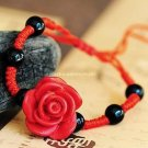 Buy Wholesale Trendy Accessories Fashion Lacquer carving Rose Bead Red Cotton Weave Bracelets Women