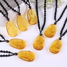 Buy Yellow Crystal Tibet Faith Religions A Patron Saint Carved Buddha Pendant Necklace for Women an