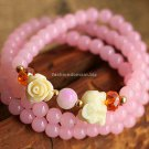 Buy  Fashion New Ethnic Jewelry Original Woman Bracelet Pink Crystal Multilayer Bracelets for Women
