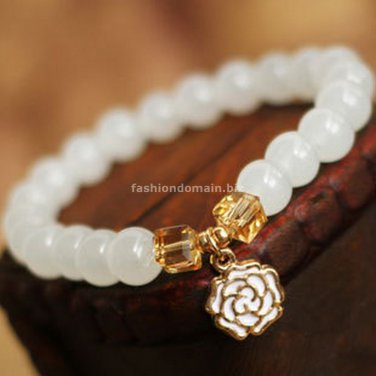 Buy Hot Sale Top quality Gold plated Rose Charm Bracelets  bangle for Women Fashion 7MM White Cryst