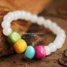 Buy  New Summer High quality Color Stone Bracelets  bangle for Women Fashion 7MM White Chalcedony B
