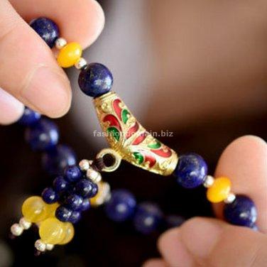 Buy  Hot Sales Natural Lapis lazuli Bracelets 8mm semi preicous stone crystal Round Beads Women Jew