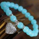 Buy Blue Crystal 925 Sterling Silver Hollow out love Bracelets  bangle 8mm Beads Bracelet Elastic f