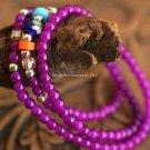 Buy Fashion Multilayer Long Violet Agate Crystal 4mm beads Charm Bracelet For Women Element Ethnic