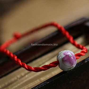 Buy Fashion Red Silk Ceramics Beads Bracelets Women Gift Simple Generous Temperament Wholesale Tren