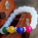 Buy Hot Sale Fashion White Chalcedony Bracelets  bangle Simple 8mm Color Beads Charm Bracelet Elast