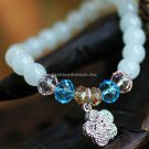 Buy Hot Sale Fashion White Chalcedony Flower Bracelets  bangle 8mm Beads Charm Bracelet Elastic for