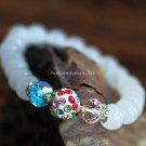 Buy Hot Sale Fashion White Chalcedony Shambhala Bracelets  bangle 8mm Bead Charm Bracelet Elastic f