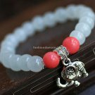 Buy Hot Sale Fashion White Chalcedony Tibetan silver Bracelets  bangle 7mm Beads Charm Bracelet Ela