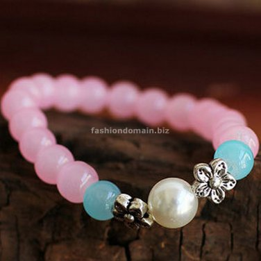 Buy Hot Sale Rose Flower Pink Crystal Bracelets  bangle 7mm Beads Tibetan silver Charm Bracelet for