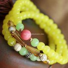 Buy Hot Yellow Crystal Bohemian Bracelets  bangle Originality 6mm Beads Charm Bracelet Elastic for