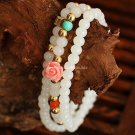 Buy New! ! ! Wholesale Jewelery Glass  Crystal Bead Fimo flowers White Multilayer Buddha Bracelets