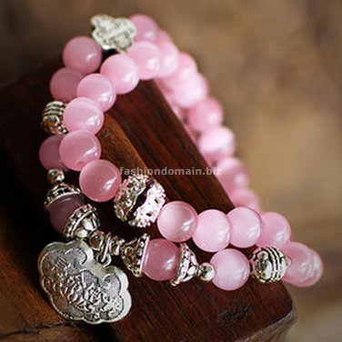 Buy New Hot High quality Fashion Pink Quartz 7mm Beads Tibetan silver  Bracelets for Women Gift Sta