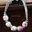 Buy New! ! Wholesale Tibetan Painted Ceramic beads Rhinestone Tibetan silver Bracelets Women Gift F