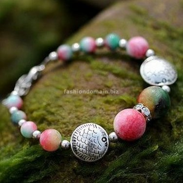 Buy Wholesale High Quality Tibetan silver Rhinestone Pisces Apple Stone Bead Bracelets Women Gift F