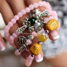 Buy Wholesale Pink Beads Crystal Stretch Bracelets Women Chalcedony Silver Turquoise Multilayer Gif
