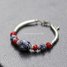 Buy Wholesale Tibetan China Wind Blue and white porcelain Tibetan silver Bracelets Women Gift Handm
