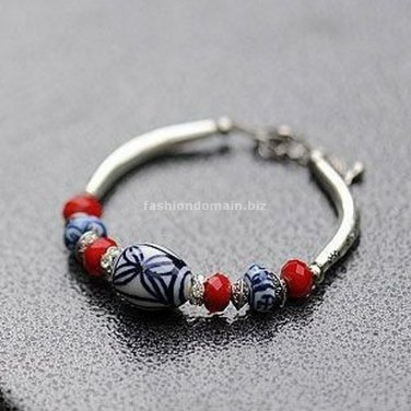 Buy Wholesale Tibetan China Wind Blue and white porcelain Tibetan silver Bracelets Women Gift Handm