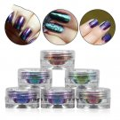 6 Bottles Nail Glitter Shinning Powder6 Brushes Mirror Flakes Sequins Manicure Nail Art Design DIY