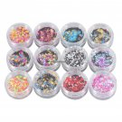 12 Boxes Luminous Nail Glitter Sequins Bling Flakes Shinning Nail Tips Design Mirror Glitter Powder