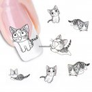 Fashion Lovely Sweet Water Transfer 3D Grey Cute Cat Nail Art Sticker Full Wraps Manicure Decal DI